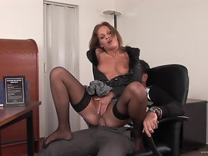 Lauren May bounces her moist pussy on this hard dick