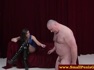 Micro cock dude facing mistress