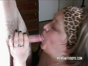Horny mama throat fucks this hard dick