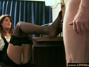 Scorching Femdom using feet for footjob