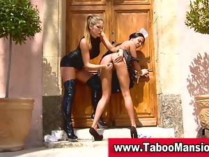 Lesbo domina toys bound maids ass outdoors and tweaks
