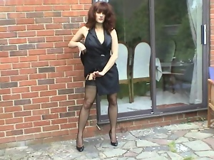 Hot mistress strips from her pantyhose