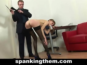 Skinny secretary spanked by rude boss
