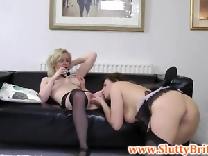 Sexy brit babes threeway with old sir