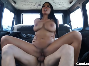 Anissa Kate's big boobies bouncing in a van