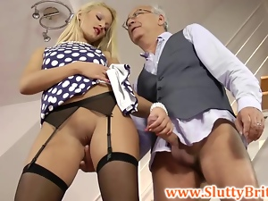 British babe jerks old sirs cock
