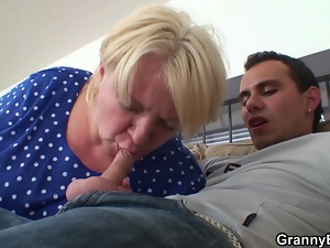 Dirty granny gets covered in cum