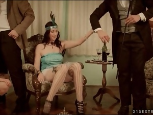 Sexy flapper girls suck dick in foursome
