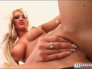 Young shaved blonde fucked in bald vagina