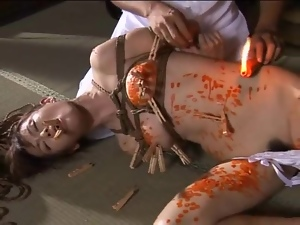Tongue and body covered in hot wax