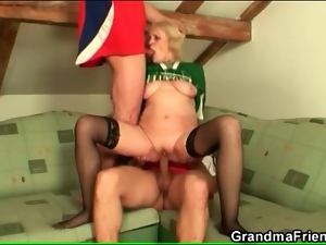 Soccer players fuck grandma in stockings
