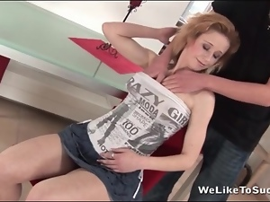 Upskirt fingering and lusty cocksucking