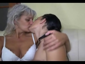 Cute brunette goes down on horny grandma