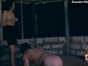 Masked man ridden around dungeon by mistress