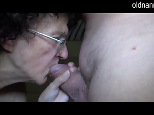 Very old granny sucking on fat cock