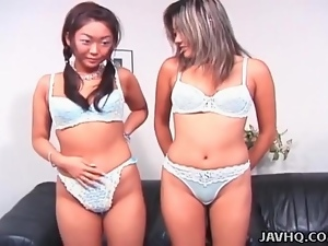 Asian girls model their bras and panties