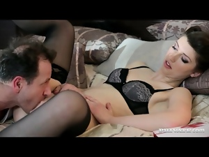 Classy lingerie on Suzen Sweet in pussy eating video