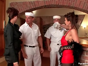 Horny sailors hit on a pair of super hot chicks