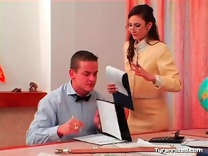 Teachers make him take out his cock and jerk off