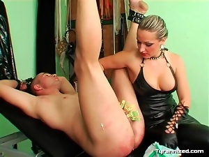 Painful CBT from mistress in leather