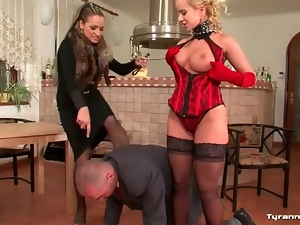Mistress with slut on a leash and naked male