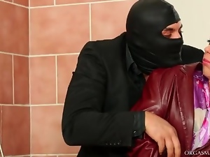 Masked man wants a blowjob in the bathroom