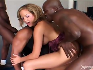 Black cocks double penetration slut in gangbang