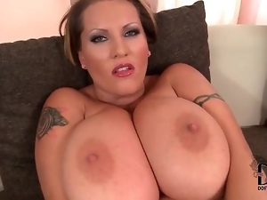 Huge tits girl fondles solo for you