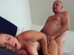 Curvy young lady with huge tits likes old cock