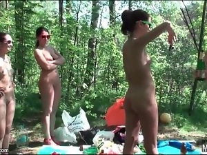 Naked girls drink and hang out in the woods