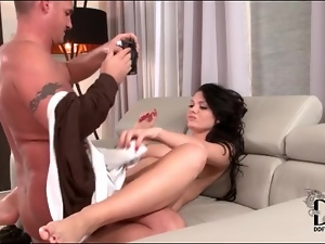 Freckled girl gives blowjob and gets fucked
