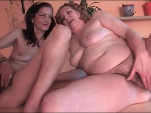 Horny grannies in lesbian fondling video