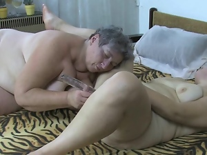 Fat grandma gets hard orgasm with her GF