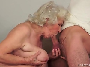 Big tits granny fucked in her hairy box