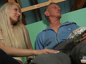 Young gorgeous blonde seduces older guy