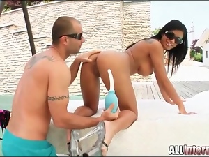 Slut gets anal enema and has anal sex