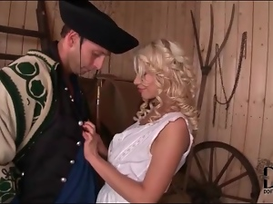 Sexy farmgirl with curly blonde hair licked