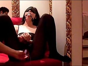 Gagged and bound Asian vibrated lustily