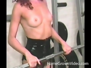 Masked redhead ass fucked in the gym