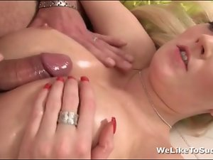 Tit fucked slut Bella Blond gets facial
