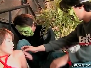 Tied up Japanese chick groped by guys