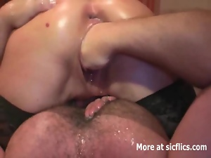 Fist fucking her squirting bucket vagina