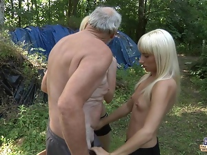 Old woodcutter fucks 2 horny blondes
