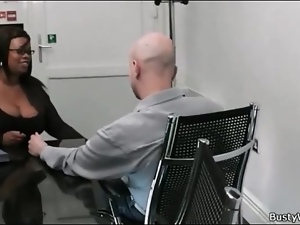 Fat black boss wants white cock at job interview