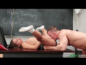 Classroom pussy eating and BJ with tight babe