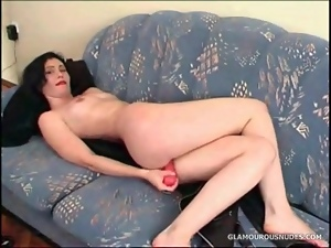 Dildo sex with cute girl and her pink dildo