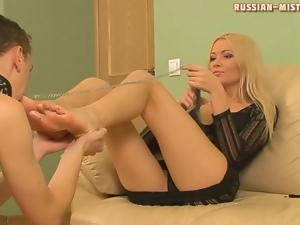 Cuckoldress sucks dick as he worships her feet