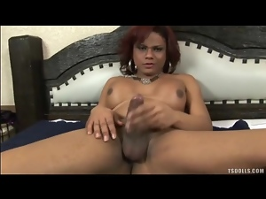 Latina tranny has a good time jerking off