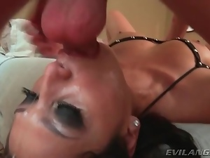 Dick down her throat as she pulls on balls