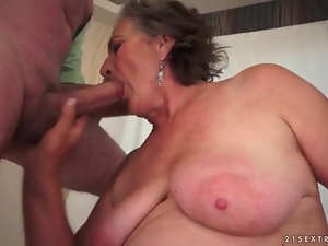 Curvy mature sucks dick and bends over
